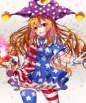 1girl alternate_legwear american_flag_dress american_flag_legwear blonde_hair breasts clownpiece cowboy_shot dress fire gloves gradient gradient_background hat highres jester_cap long_hair looking_at_viewer medium_breasts neck_ruff open_mouth polka_dot puffy_short_sleeves puffy_sleeves red_eyes renka_(sutegoma25) short_dress short_sleeves smile solo sparkle star star_print striped thigh-highs torch touhou white_gloves
