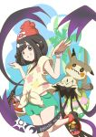1girl 2016 bag bangs bare_arms bare_legs beanie black_eyes black_hair blue_sky bracelet bush clouds copyright_name costume dated day female_protagonist_(pokemon_sm) floral_print flower green_shorts grin handbag hat highres jewelry koyori-018 leg_up mimikyu palm_tree parted_bangs pikachu_costume pokemon pokemon_(creature) pokemon_(game) pokemon_sm pose red_hat shirt shoes short_hair short_sleeves shorts simple_background sky smile sneakers tied_shirt tree white_background yellow_shirt z-ring