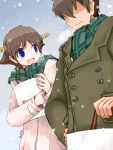 1boy :d admiral_(kantai_collection) bag blue_eyes blush breath brown_coat brown_hair closed_mouth coat day flying_sweatdrops green_scarf hair_ornament hair_over_eyes hairband hairclip hand_on_hip hiei_(kantai_collection) holding kanoe_soushi kantai_collection looking_at_another open_mouth outdoors scarf shopping_bag short_hair smile snow twitter_username