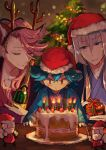 3boys antlers blue_eyes blue_hair bottle cake candle christmas christmas_tree closed_eyes fake_antlers food gift hat highres kousetsu_samonji male_focus multiple_boys pink_hair pippi_(pixiv_1922055) reindeer_antlers santa_hat sayo_samonji smile souza_samonji touken_ranbu