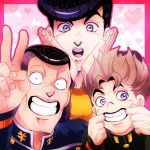 3boys :o black_hair dollar_sign gakuran grey_hair grin hands_on_own_cheeks hands_on_own_face heart heart_background higashikata_jousuke hirose_kouichi imaru_(yashiro19950425) jojo_no_kimyou_na_bouken light_brown_hair male_focus mouth_pull multicolored_hair multiple_boys nijimura_okuyasu open_mouth pompadour purple_hair school_uniform smile two-tone_hair v violet_eyes yen_sign