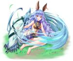 1girl animal_ears arm_support barefoot blue_hair breasts brown_eyes ferry_(granblue_fantasy) full_body granblue_fantasy long_hair looking_at_viewer open_mouth outdoors pensuke sideboob sitting solo white_background