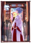 1girl 2016 ahoge alternate_hairstyle bangs blue_eyes blue_hair blue_ribbon blurry blush border box breasts butterfly creature dated depth_of_field detached_sleeves donation_box double_bun english flower glowing_butterfly hair_flower hair_ornament hair_ribbon hakama hatsune_miku highres holding_ribbon japanese_clothes light_particles long_sleeves looking_up miko oriental_umbrella outdoors profile red_hakama ribbon shinto sky small_breasts stairs standing torii umbrella vocaloid wide_sleeves zhayin-san