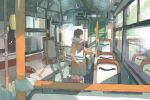 1girl bangs bus bus_interior coat commentary_request ground_vehicle long_sleeves luggage motor_vehicle original scarf solo standing wamizu window winter_clothes