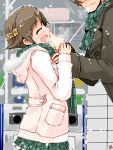 1boy 1girl :d ^_^ blush brown_coat brown_hair closed_eyes closed_mouth coat eyebrows_visible_through_hair fur_trim green_scarf hairband hiei_(kantai_collection) hooded_coat kanoe_soushi kantai_collection long_sleeves open_mouth outdoors pink_coat plaid plaid_skirt pleated_skirt profile runny_nose scarf short_hair sideways_mouth skirt smile snow standing translation_request wiping_nose