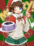 1girl ;d aran_sweater bell black_legwear blue_eyes blueberry blush bottle brown_hair cake capelet christmas confetti english eyebrows_visible_through_hair food fruit hairband hat hiei_(kantai_collection) holding jingle_bell kanoe_soushi kantai_collection long_sleeves looking_at_viewer merry_christmas one_eye_closed open_mouth plaid plaid_skirt pleated_skirt santa_hat short_hair skirt smile solo sweater thigh-highs tray turtleneck wine_bottle zettai_ryouiki