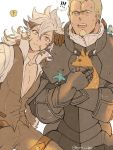 2boys animal animal_ears animal_on_shoulder armor benoit_(fire_emblem_if) bird bird_on_shoulder eating european_clothes fire_emblem fire_emblem_if flannel_(fire_emblem_if) fox long_hair looking_at_viewer multiple_boys pauldrons short_hair smile torisudesu wolf_ears