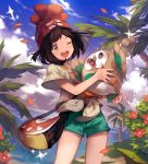 1girl ;d aqua_shorts bag bangs beach beanie black_hair blue_sky bush clouds cloudy_sky coconut coconut_tree collarbone cowboy_shot day eyelashes female_protagonist_(pokemon_sm) flat_chest floral_print front-tie_top grey_eyes happy hat highres holding horizon lee_hyeseung legs_apart light_particles ocean one_eye_closed open_mouth outdoors palm_tree paw_print petals pokemon pokemon_(creature) pokemon_(game) pokemon_sm print_shirt red_flower red_hat rowlet shirt short_hair short_shorts short_sleeves shorts shoulder_bag sky smile sparkle spread_fingers standing swept_bangs teeth tied_shirt tree