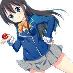 1girl bangs black_hair blue_eyes blush bow bowtie collared_shirt double-breasted dutch_angle floating_hair food grey_skirt hair_between_eyes hair_ornament hairclip hand_on_hip holding holding_food legs_apart long_hair looking_at_viewer original pleated_skirt ragho_no_erika shirt simple_background skirt smile smug solo striped striped_skirt sukurizo! tomato white_background white_shirt yellow_bow yellow_bowtie