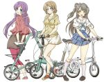 3girls :d aqua_eyes bangs bicycle blue_skirt bow brown_hair brown_shoes commentary_request dark_skin folding_bicycle frilled_skirt frills grey_hair grin ground_vehicle hair_bow high-waist_skirt jewelry jinmaryu kneehighs koizumi_hanayo leggings loafers long_hair looking_at_viewer looking_back love_live! minami_kotori multiple_girls necklace one_side_up open_mouth pink_legwear pink_shoes purple_hair red_shoes sailor_collar scrunchie shoes short_hair short_sleeves simple_background skirt smile sneakers toujou_nozomi twintails violet_eyes white_background white_skirt yellow_eyes