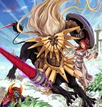 1girl 2boys alector_sovereign_of_birds armor beast_king_barbaros bracelet bush centauroid chalice chinchira dark_ruler_ha_des demon dress duel_monster fangs flower full_body hair_flower hair_ornament holding holding_weapon horns jewelry lance lion long_hair looking_at_viewer multiple_boys muscle polearm red_eyes shield smile toned very_long_hair weapon white_dress yu-gi-oh!