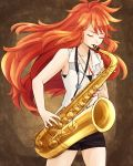 1girl amou_kanade armpits bare_shoulders black_shorts breasts cleavage closed_eyes collarbone instrument jazz_for_your_soul_(meme) jewelry long_hair nagi_mizuha nail_polish necklace pendant red_nails redhead saxophone senki_zesshou_symphogear shirt short_shorts shorts sleeveless sleeveless_shirt solo spiky_hair wavy_hair white_shirt