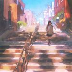 1girl backpack bag black_hair building clouds coat hand_in_pocket ilya_kuvshinov kneehighs looking_at_viewer necktie original short_hair sky solo stairs walking
