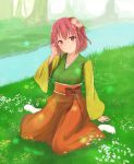 1girl arm_support bangs blush closed_mouth collarbone day flower forest full_body grass hair_between_eyes hair_flower hair_ornament hakama hieda_no_akyuu japanese_clothes kimono long_sleeves looking_at_viewer nature nise_(__nise6__) outdoors pink_hair red_eyes river short_hair sitting smile socks solo touhou wariza white_legwear wide_sleeves