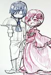 1boy 1girl akujiki_musume_conchita_(vocaloid) apron blue_hair chef chef_uniform chibi choker cloche_(tableware) closed_eyes closed_mouth corset covering_mouth detached_sleeves dress evil_smile evillious_nendaiki flower frilled_dress frills hair_flower hair_ornament hand_on_own_chin holding holding_plate kaito long_dress meiko monochrome nagori neckerchief open_mouth plate red_dress red_eyes redhead scribble serving_dome short_hair size_difference smile traditional_media tray vocaloid waist_apron