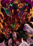 2boys battle blue-eyes_white_dragon card_(medium) chains chinchira collar dragon duel duel_monster kaiba_seto meteor_b._dragon meteor_dragon millennium_puzzle multiple_boys open_mouth red-eyes_b._dragon sharp_teeth spiky_hair teeth tongue yami_yuugi yu-gi-oh!