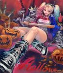 1girl baseball_bat batman_(series) belt blonde_hair blue_eyes blue_hair boots bracelet breasts choker cross-laced_footwear dc_comics demon_horns fake_horns halloween harley_quinn highres hira_(pixiv422561) horns jewelry lace-up_boots large_breasts lipstick long_hair looking_at_viewer makeup matching_hair/eyes middle_finger multicolored_hair shorts sitting skeleton solo spiked_bracelet spikes studded_belt suicide_squad twintails