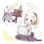 1girl ahoge akamatsu_kaede beamed_quavers beamed_semiquavers blonde_hair certificate child danganronpa dress grand_piano instrument music musical_note musical_note_hair_ornament new_danganronpa_v3 oie13 piano playing_instrument ponytail quaver semiquaver simple_background smile translation_request violet_eyes white_background younger