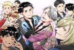 6+boys animal animal_on_head arm_around_waist black_hair blonde_hair blue_eyes brown_eyes christophe_giacometti dog epaulettes facial_hair green_eyes grey_eyes grin hamster hand_holding heart highres iromikan_(tomomickey) jacket jean-jacques_leroy jewelry katsuki_yuuri lee_seung-gil makkachin male_focus minami_kenjirou multicolored_hair multiple_boys one_eye_closed open_mouth otabek_altin petals phichit_chulanont redhead ring smile sparkle tongue tongue_out track_jacket v v_over_eye viktor_nikiforov yuri!!!_on_ice yuri_plisetsky
