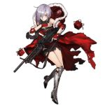 1girl alternate_costume blush boots buckle cape cross-laced_footwear dress eyebrows fingerless_gloves full_body fur-trimmed_cape fur-trimmed_sleeves gift girls_frontline gloves green_eyes grey_hair gun hair_between_eyes hair_over_one_eye hands_on_own_chest head_tilt high_heel_boots high_heels holding holding_gun holding_weapon hood hoodie knee_pads lace-up_boots looking_at_viewer machine_gun mg5 mg5_(girls_frontline) official_art personification red_gloves scarf short_hair short_sleeves solo torn_clothes torn_sleeves transparent_background trigger_discipline weapon