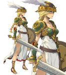 1girl armor armored_dress bare_legs belt blonde_hair blue_eyes bow braid breastplate breasts cleavage enami_katsumi hair_bow helmet highres holding holding_sword holding_weapon long_hair low-tied_long_hair multiple_views sandals shaded_face shield shoulder_pads sword valkyrie_(vnd) valkyrie_no_densetsu weapon winged_helmet
