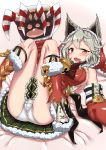 1girl animal_ears blush breasts christmas claw_(weapon) claws collar cro fang gloves granblue_fantasy highres long_hair looking_at_viewer lying on_back open_mouth orange_eyes panties red_eyes sen_(granblue_fantasy) silver_hair skirt solo underwear weapon white_panties
