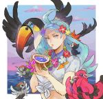 1girl absurdres ahoge aqua_hair beach beak bendy_straw bird blue_eyes blue_hat blue_sky buttons clouds coconut collared_shirt drink drinking_straw dusk elite_four fingernails flower flower_necklace hair_flower hair_ornament hat highres holding jewelry jyuv kahili_(pokemon) lips long_hair mole mole_under_eye mountain necklace ocean open_mouth oricorio outdoors parted_lips pikipek poke_bean pokemon pokemon_(creature) pokemon_(game) pokemon_sm shirt short_sleeves sky tied_shirt toucan toucannon visor_cap water white_shirt wings