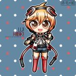 1boy arm_out blonde_hair boots bracelets brown_eyes chibi hibiki_lui necktie open_mouth short_shorts solo tagme thigh_highs vocaloid