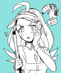 >:o /\/\/\ 1girl :o ahoge aqua_background bird blush bracelet buttons collared_shirt commentary_request elite_four female golf_club hand_on_own_face holding jewelry kahili_(pokemon) long_hair mole mole_under_eye monochrome moumoku_nezumi open_mouth pokemon pokemon_(creature) pokemon_(game) pokemon_sm shirt short_sleeves simple_background single_glove sketch solo speech_bubble striped striped_shirt sweat teeth text tongue toucan toucannon translated upper_body visor_cap z-ring