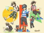 1boy ? backpack bag bangs baseball_cap black black_hair black_hat camouflage camouflage_shorts capri_pants closed_eyes grey_eyes grin grubbin hand_in_pocket hat holding holding_poke_ball keychain litten male_focus male_protagonist_(pokemon_sm) morelull multiple_views natsuno_hamuto pants pikipek poke_ball pokemon pokemon_(creature) pokemon_(game) pokemon_sm red_shirt shirt shoes short_hair shorts signature sitting smile sneakers spoken_question_mark squatting striped striped_shirt swept_bangs t-shirt trilby white_shirt wishiwashi yungoos z-ring
