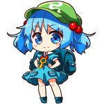 1girl backpack bag blue_boots blue_dress blue_eyes blue_hair blush_stickers boots chibi dress flat_cap full_body green_hat hair_bobbles hair_ornament hands_on_hips hat kawashiro_nitori key looking_at_viewer lowres matching_hair/eyes pocket puffy_short_sleeves puffy_sleeves renren_(ah_renren) short_sleeves simple_background smile solo standing touhou twintails white_background