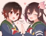 2girls blue_jacket brown_eyes brown_hair crescent crescent_moon_pin gradient_hair hair_ornament hands_together itomugi-kun jacket kantai_collection kisaragi_(kantai_collection) long_hair multicolored_hair multiple_girls mutsuki_(kantai_collection) one_eye_closed open_mouth red_eyes remodel_(kantai_collection) school_uniform serafuku short_hair symmetry