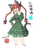 1girl 2016 akanbe animal_ears cat_ears cat_tail character_name cowboy_shot dated inuno_rakugaki kaenbyou_rin looking_at_viewer multiple_tails one_eye_closed red_eyes redhead solo tongue tongue_out touhou white_background