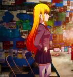 >:( chairs charlotte_(anime) gradient_hair kurobane_misa school_uniform side_view skirt table tagme thigh_highs violet_eyes