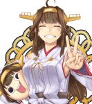 (o)_(o) 2girls :d ^_^ armpits black_eyes brown_hair chibi closed_eyes detached_sleeves dual_persona grin hairband ishii_hisao kantai_collection kongou_(kantai_collection) long_hair looking_at_viewer multiple_girls munmu nontraditional_miko open_mouth smile v