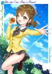 1girl asahi_production bow bread brown_eyes brown_hair deviantart food katou_shinobu media_factory pan_de_peace! pixiv school_uniform short_hair tani_minami tokyo_mx