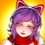 1girl 2016 ahri alternate_costume animal_ears arcade_ahri bangs blue_eyes cat_ear_headphones colored_eyelashes dated fake_animal_ears fox_ears glint head_tilt headphones league_of_legends lipstick looking_at_viewer makeup mole mole_under_eye parted_lips pink_lips portrait puffy_sleeves purple_hair red_scarf ryu_un scarf shiny shiny_hair short_hair signature solo star star-shaped_pupils star_print symbol-shaped_pupils teeth yellow_background
