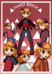 6boys alinesm_(artist) backwards_cap belt blush boots fingerless_gloves grin hard_brick highres jacket looking_at_viewer looking_over_shoulder orange_hair powerpuff_girls_z red_eyes rowdyruff_boys_z scar tagme thumbs_up