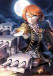 1girl artist_name bangs black_jacket blue_eyes cannon closed_mouth epaulettes gloves holding holding_sword holding_weapon jacket long_hair looking_at_viewer low_ponytail machinery military military_jacket military_uniform mole mole_under_eye moon mtyy nelson_(zhan_jian_shao_nyu) night night_sky one_eye_closed orange_hair pointing_sword red_skirt shirt signature skirt sky solo swept_bangs sword turret uniform upper_body weapon white_gloves white_shirt zhan_jian_shao_nyu