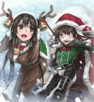 2girls antlers bell bent_over black_hair black_legwear boots brown_eyes brown_hair chikuma_(kantai_collection) christmas fake_mustache hat jingle_bell kantai_collection lif long_hair multiple_girls pelvic_curtain pony_play santa_hat sled thigh-highs tone_(kantai_collection) very_long_hair