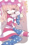 1girl american_flag american_flag_dress american_flag_legwear american_flag_shirt blonde_hair clownpiece commentary_request d; dress fairy fairy_wings frilled_shirt_collar frills hat highres jester_cap leggings long_hair long_sleeves nagi_(nagito) neck_ruff one_eye_closed open_mouth pantyhose pink_eyes polka_dot print_legwear solo star star_print touhou translation_request very_long_hair wings