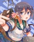 1girl akebono_(kantai_collection) bell blurry depth_of_field flower foreshortening hair_bell hair_flower hair_ornament itomugi-kun jingle_bell kantai_collection long_hair looking_at_viewer machinery open_mouth purple_hair school_uniform serafuku side_ponytail very_long_hair violet_eyes
