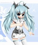1girl blue_hair boots buttons dress long_hair nintendo nintendo_wii open_mouth ribbon sash solo tagme thigh_highs twin_tails wiimote