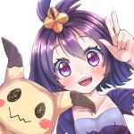 1girl :d acerola_(pokemon) bangs blush collarbone costume dress elite_four eyebrows_visible_through_hair eyelashes flat_chest hair_between_eyes hair_ornament looking_at_viewer mimikyu open_mouth pikachu_costume pokemon pokemon_(creature) pokemon_(game) pokemon_sm purple_dress purple_hair rigorigo short_hair short_sleeves simple_background smile stitches teeth tongue topknot torn_clothes torn_sleeves trial_captain upper_body v violet_eyes white_background