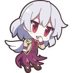 1girl 60mai bangs blush boots bow bowtie brown_boots chibi covering_mouth dress eyebrows_visible_through_hair full_body hand_on_hip hand_up jacket kishin_sagume leaning_forward long_sleeves looking_at_viewer open_mouth purple_dress red_bow red_bowtie red_eyes silver_hair simple_background single_wing smile solo standing touhou white_background white_wings wings