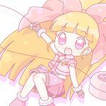 1girl akatsutsumi_momoko arms_out belt chibi chocker dress earrings hair_bow jacket long_hair mirai_(sugar) no_nose open_mouth orange_hair pink_eyes powerpuff_girls_z solo tagme yo-yo