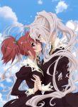 2girls aoi_nagisa clouds dress hanazono_shizuma highres holding_hands long_hair looking_at_each_other pink_eyes redhead sakai_kyuuta short_hair sky strawberry_panic! tagme white_hair yellow_eyes yuri