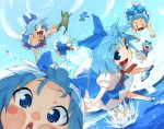against_glass blue_eyes blue_hair blush_stickers cirno clone close-up excited face flying frog frogs kanji open_mouth outstretched_arms shaa_(halleluya) short_hair shue sky smile splash spread_arms touhou water |_|