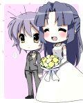 asakura_ryouko blue_eyes blue_hair blush bouquet bride chibi dress flower formal lavender_hair long_hair lowres marriage maskman multiple_girls nagato_yuki oekaki pant_suit short_hair suit suzumiya_haruhi_no_yuuutsu tuxedo wedding wedding_dress yuri