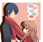 bad_id blue_hair brown_eyes brown_hair long_hair scarf shared_scarf short_hair takasu_ryuuji toradora! yuurakudou_kurono